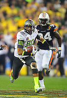 Jan 10, 2011; Glendale, AZ, USA; Oregon Ducks wide receiver (80) Lavasier Tuinei against the Auburn Tigers during the 2011 BCS National Championship game at University of Phoenix Stadium. The Tigers defeated the Ducks 22-19. Mandatory Credit: Mark J. Rebilas-