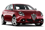 Low aggressive passenger side front three quarter view of a 2010 - 2014 Alfa Romeo Giulietta 5 door hatchback.