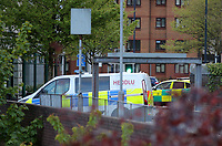 Pictured: A police car by the bridge that connects the train station to the car park. Friday 28 April 2017<br /> Re: A man who threatened to jump off a bridge connecting the railway station and the High Street car park in, Swansea, south Wales has been removed by police officers.