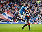 Lee Wallace celebrates after scoring the third goal with Danny Wilson and Andy Halliday