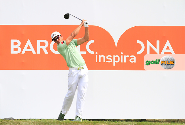 Rafa Cabrera-Bello (ESP) on the 9th tee during Round 1 of the Open de Espana  in Club de Golf el Prat, Barcelona on Thursday 14th May 2015.<br /> Picture:  Thos Caffrey / www.golffile.ie