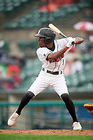 Rochester Red Wings shortstop Nick Gordon (1) at bat during a game against the Scranton/Wilkes-Barre RailRiders on June 24, 2018 at Frontier Field in Rochester, New York.  The game was suspended in the fourth inning due to inclement weather.  (Mike Janes/Four Seam Images)