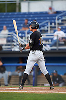 West Virginia Black Bears designated hitter Logan Hill (18) at bat during a game against the Batavia Muckdogs on August 30, 2015 at Dwyer Stadium in Batavia, New York.  Batavia defeated West Virginia 8-5.  (Mike Janes/Four Seam Images)