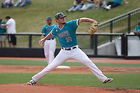 University of Coastal Carolina Chanticleers pitcher Cole Schaefer (34) on the mound during a game against the University of Virginia Cavaliers at Springs Brooks Stadium on February 21, 2016 in Conway, South Carolina. Coastal Carolina defeated Virginia 5-4. (Robert Gurganus/Four Seam Images)