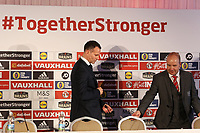 Ryan Giggs and Jonathan Ford find take their seats on the top table during the Wales Unveiling  Of The New Manager at Hensol Castle, Vale of Glamorgan, Wales, UK. Monday 15 January 2018
