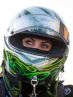 Jul 8, 2016; Joliet, IL, USA; NHRA funny car driver Alexis DeJoria during qualifying for the Route 66 Nationals at Route 66 Raceway. Mandatory Credit: Mark J. Rebilas-USA TODAY Sports