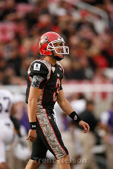 Trent Nelson  |  The Salt Lake Tribune.Jordan Wynn walks off field after interception during the second half, Utah vs. TCU college football, Saturday, November 6, 2010. TCU won 47-7.