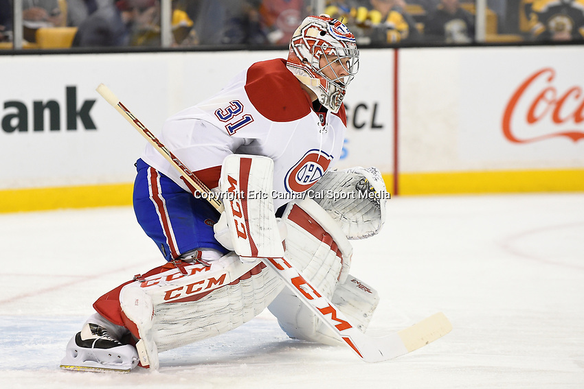 Saturday, October 10, 2105: Montreal Canadiens goalie Carey Price (31) warms up for the NHL game between the Montreal Canadiens and the Boston Bruins held at TD Garden, in Boston, Massachusetts.  Montreal defeats Boston 4-2 in regulation time. Eric Canha/CSM