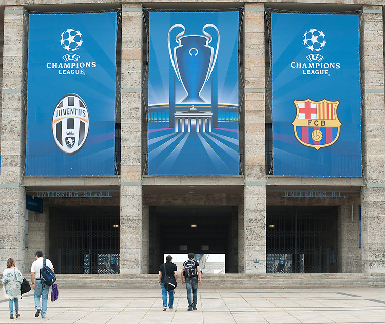 A general view of the Olympiastadion, Berlin, venue for the 2015 UEFA Champions League Final between Juventus and Barcelona<br /> <br /> Photographer Chris Vaughan/CameraSport<br /> <br /> Football - UEFA Champions League Final - Juventus v Barcelona - Saturday 6th June 2015 - Olympiastadion - Berlin, Germany<br /> <br /> &copy; CameraSport - 43 Linden Ave. Countesthorpe. Leicester. England. LE8 5PG - Tel: +44 (0) 116 277 4147 - admin@camerasport.com - www.camerasport.com