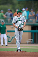 Dartmouth Big Green starting pitcher Nathan Skinner (15) gets ready to deliver a pitch during a game against the USF Bulls on March 17, 2019 at USF Baseball Stadium in Tampa, Florida.  USF defeated Dartmouth 4-1.  (Mike Janes/Four Seam Images)