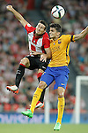 Athletic de Bilbao's Aritz Aduriz (l) and FC Barcelona's Marc Bartra during Supercup of Spain 1st match.August 14,2015. (ALTERPHOTOS/Acero)