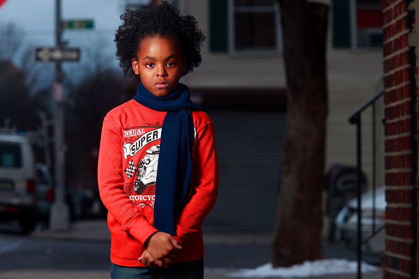 Ricardo Lewis, 9, in front of his Bronx, NY home on Friday, January 8, 2010.