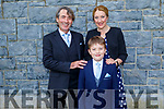 Diarmuid Lawlor who received his First Holy Communion in Kilmoyley on Saturday standing with his mom and dad, Maurice and Clare Lawlor.