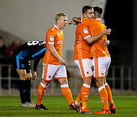 Blackpool's Steve Davies celebrates scoring his side's equalising goal with John O'Sullivan<br /> <br /> Photographer Alex Dodd/CameraSport<br /> <br /> The EFL Checkatrade Trophy Northern Group C - Blackpool v West Bromwich Albion U21 - Tuesday 9th October 2018 - Bloomfield Road - Blackpool<br />  <br /> World Copyright &copy; 2018 CameraSport. All rights reserved. 43 Linden Ave. Countesthorpe. Leicester. England. LE8 5PG - Tel: +44 (0) 116 277 4147 - admin@camerasport.com - www.camerasport.com
