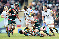 Guy Thompson of Wasps takes on the Leicester Tigers defence. Aviva Premiership match, between Leicester Tigers and Wasps on March 25, 2018 at Welford Road in Leicester, England. Photo by: Patrick Khachfe / JMP
