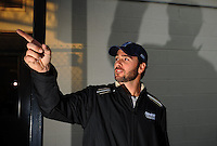Apr 16, 2009; Avondale, AZ, USA; Jimmie Johnson speaks to the media prior to the NASCAR Camping World Series West race named the Jimmie Johnson Foundation 150 at Phoenix International Raceway. Mandatory Credit: Mark J. Rebilas-