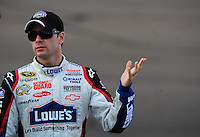 Nov. 13, 2009; Avondale, AZ, USA; NASCAR Sprint Cup Series driver Jimmie Johnson during qualifying for the Checker O'Reilly Auto Parts 500 at Phoenix International Raceway. Mandatory Credit: Mark J. Rebilas-