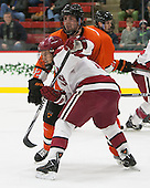 Ben Foster (Princeton - 22), Kyle Criscuolo (Harvard - 11) - The Harvard University Crimson defeated the visiting Princeton University Tigers 5-0 on Harvard's senior night on Saturday, February 28, 2015, at Bright-Landry Hockey Center in Boston, Massachusetts.