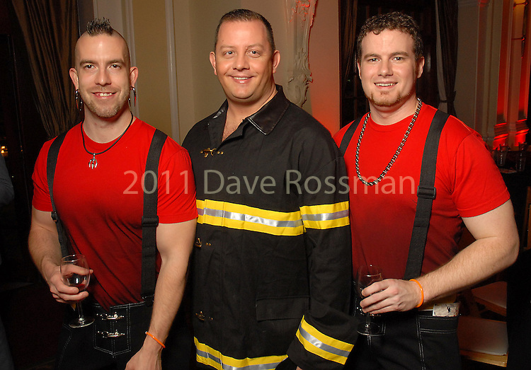 From left: Will Brooks, Chris Blanke and Chip Ware at the Diverse Works Fire Sale Gala at the Rice Hotel Friday  March 27,2009.(Dave Rossman/For the Chronicle)