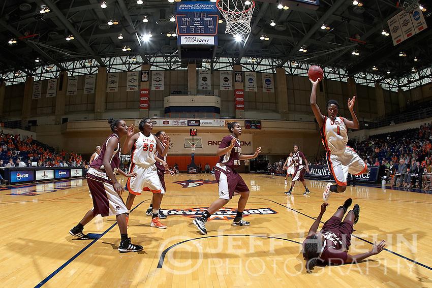 SAN ANTONIO, TX - JANUARY 21, 2012: The Texas State University Bobcats vs. The University of Texas at San Antonio Roadrunners Women's Basketball at the UTSA Convocation Center. (Photo by Jeff Huehn)