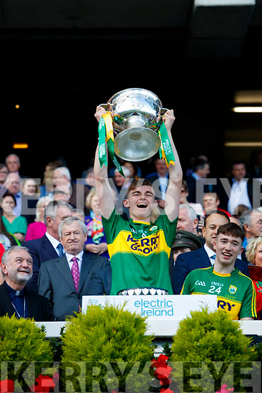 Diarmuid O'Connor Kerry Minors celebrate with the Tom Markham Cup after defeating Derry in the All-Ireland Minor Footballl Final in Croke Park on Sunday.