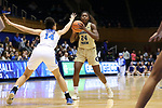 DURHAM, NC - FEBRUARY 01: Georgia Tech's Chanin Scott (24) and Duke's Faith Suggs (14). The Duke University Blue Devils hosted the Georgia Tech University Yellow Jackets on February 1, 2018 at Cameron Indoor Stadium in Durham, NC in a Division I women's college basketball game. Duke won the game 77-59.
