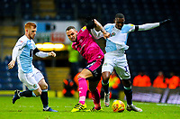 Blackburn Rovers' Amari'i Bell battles with Queens Park Rangers' Jake Bidwell<br /> <br /> Photographer Alex Dodd/CameraSport<br /> <br /> The EFL Sky Bet Championship - Blackburn Rovers v Queens Park Rangers - Saturday 3rd November 2018 - Ewood Park - Blackburn<br /> <br /> World Copyright © 2018 CameraSport. All rights reserved. 43 Linden Ave. Countesthorpe. Leicester. England. LE8 5PG - Tel: +44 (0) 116 277 4147 - admin@camerasport.com - www.camerasport.com