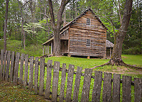 Great Smoky Mts. National Park, TN/NC<br /> Farm house and weathered wood fence at &quot;The Tipton place&quot; farm site in Cades Cove