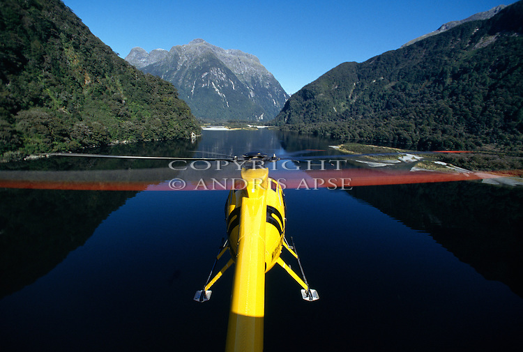 Hughes 500 D Helicopter above Milford Sound Fiordland National Park New Zealand