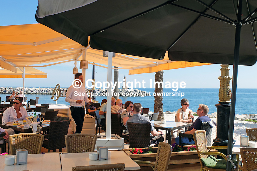 All fresco dining, wine &amp; dine, retaurant, yachts, marina, harbour, Puerto Banus, Marbella, Spain, April, 2016, 201604142400<br />