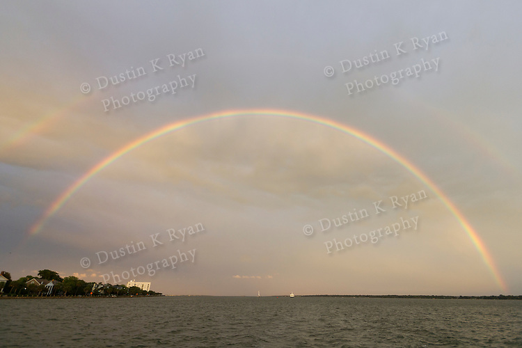 Double Rainbow over the water on the Charleston Harbor