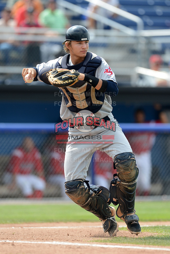 Mahoning Valley Scrappers catcher Martin Cervenka (20) throws to first during a game against the Batavia Muckdogs on September 1, 2013 at Dwyer Stadium in Batavia, New York.  Mahoning Valley defeated Batavia 6-0 behind a no-hitter.  (Mike Janes/Four Seam Images)