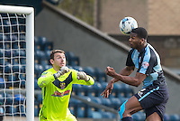 Rowan Liburd of Wycombe Wanderers manages to get a shot at goal during the Sky Bet League 2 match between Wycombe Wanderers and Stevenage at Adams Park, High Wycombe, England on 12 March 2016. Photo by Andy Rowland/PRiME Media Images.
