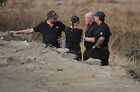 Pictured: Detective Inspector Jon Cousins (3rd L) joins forensic archaeologists at the second site in Kos, Greece. Wednesday 12 October 2016<br /> Re: Police teams led by South Yorkshire Police are searching for missing toddler Ben Needham on the Greek island of Kos.<br /> Ben, from Sheffield, was 21 months old when he disappeared on 24 July 1991 during a family holiday.<br /> Digging has begun at a new site after a fresh line of inquiry suggested he could have been crushed by a digger.