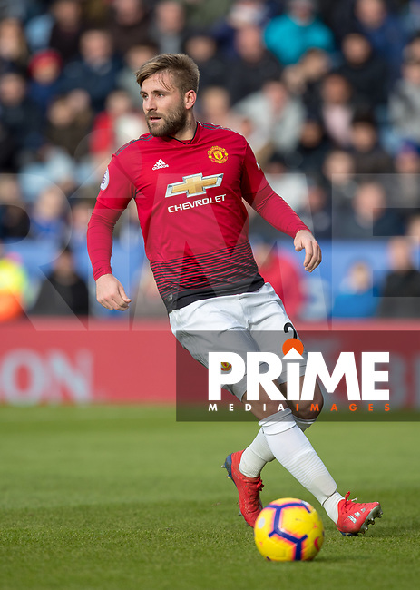Luke Shaw of Man Utd during the Premier League match between Leicester City and Manchester United at the King Power Stadium, Leicester, England on 3 February 2019. Photo by Andy Rowland.