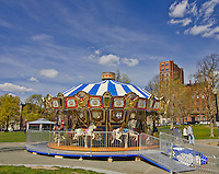 The Merry Go Round in the Boston Commons park is a popular attraction, Boston MA