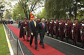 United States Secretary of Defense Donald H. Rumsfeld (right) is escorted by the Macedonian Minister of Defense Vlado Buckovski as he reviews the honor guard at the Ministry of Defense on October 11, 2004.  Rumsfeld is in Macedonia to attend a bi-lateral meeting with Macedonia officials.  <br /> Mandatory Credit: James M. Bowman / DoD via CNP