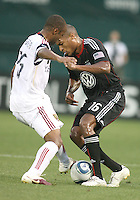 Jordan Graye #16 of D.C. United  battles for the ball with Collen Warner #26of Real Salt Lake during an MLS match at RFK Stadium, on June 5 2010 in Washington DC. The game ended in a 0-0 tie.