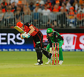 3rd February 2019, Optus Stadium, Perth, Australia; Australian Big Bash Cricket League, Perth Scorchers versus Melbourne Stars; Cameron Bancroft of the Perth Scorchers plays an on drive during his innings