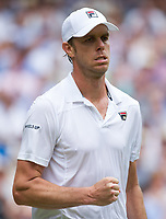 Sam Querrey (24) of United States celebrates a point against Andy Murray (1) of Great Britain in their Men's Singles Quarter Final Match today - Querrey def Murray 3-6, 6-4, 6-7, 6-1, 6-1<br /> <br /> Photographer Ashley Western/CameraSport<br /> <br /> Wimbledon Lawn Tennis Championships - Day 9 - Wednesday 12th July 2017 -  All England Lawn Tennis and Croquet Club - Wimbledon - London - England<br /> <br /> World Copyright &not;&uml;&not;&copy; 2017 CameraSport. All rights reserved. 43 Linden Ave. Countesthorpe. Leicester. England. LE8 5PG - Tel: +44 (0) 116 277 4147 - admin@camerasport.com - www.camerasport.com