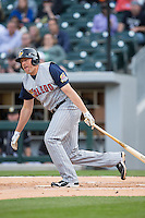 Mike Hessman (27) of the Toledo Mud Hens follows through on his swing against the Charlotte Knights at BB&T BallPark on April 27, 2015 in Charlotte, North Carolina.  The Knights defeated the Mud Hens 7-6 in 10 innings.   (Brian Westerholt/Four Seam Images)