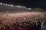 Wisconsin Badger fans storm the field after upsetting number 1 ranked Ohio State Buckeyes during an NCAA college football game on October 16, 2010 at Camp Randall Stadium in Madison, Wisconsin. The Badgers beat the Buckeyes 31-18. (Photo by David Stluka)