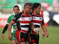 Counties midfielders Siale Piutau and Tasesa Lavea during the Air NZ Cup rugby match between Manawatu Turbos and Counties-Manukau Steelers at FMG Stadium, Palmerston North, New Zealand on Sunday, 2 August 2009. Photo: Dave Lintott / lintottphoto.co.nz