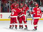 The Wisconsin Badgers celebrate defenseman Justin Schultz (6) goal during an NCAA hockey game against the Alabama Huntsville Chargers at the Kohl Center in Madison, Wisconsin on October 15, 2010. The Badgers won 7-0. (Photo by David Stluka)