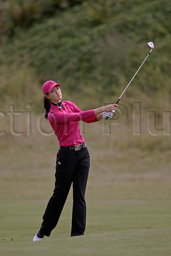 31 July 2005: American golfer Michelle Wie (USA) looks into the distance after playing from the 5th fairway during the Weetabix Women's British Open Championship played at Royal Birkdale. Photo: Glyn Kirk/Actionplus....050731 woman ladies