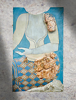 Minoan wall art fresco depicting a female figure, Neopalatial Period, C.1450 BC. Pseira, Crete. Heraklion Archaeological Museum.