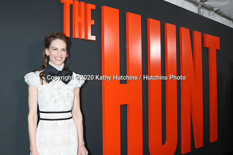 """LOS ANGELES - MAR 9:  Hilary Swank at the """"The Hunt"""" Premiere at the ArcLight Hollywood on March 9, 2020 in Los Angeles, CA"""