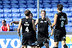 The Hague, Netherlands, June 01: Steven Edwards #31 of New Zealand is congratulated by teammates after scoring the 1:0 in the first minute of the match during the field hockey group match (Men - Group B) between the Black Sticks of New Zealand and Korea on June 1, 2014 during the World Cup 2014 at GreenFields Stadium in The Hague, Netherlands. Final score 2:1 (1:0) (Photo by Dirk Markgraf / www.265-images.com) *** Local caption ***