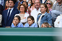 Novak Djokovic (Ser) defeated Roger Federer (Sui) in the men final with the kids of Roger and Mirka<br /> Wimbledon 14/07/2019<br /> Tennis Grande Slam 2019 <br /> Finale - Final  <br /> Photo Antoine Couvercelle / Panoramic <br /> ITALY ONLY
