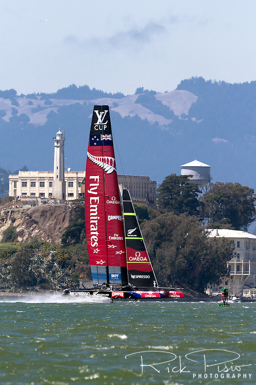 Emirates Team New Zealand, representing the Royal New Zealand Yacht Squadron, sails on San Francisco Bay during the 2013 Americas Cup competition.